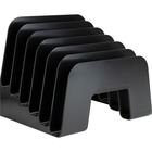 "Business Source 6-slot Inclined Desk Step Sorter - 6 Compartment(s) - 6.5"" Height x 8"" Width x 7.8"" Depth - Desktop - Recycled - Black - Plastic - 1 / Each"