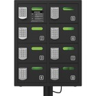 """ChargeTech 8-bay Cell Phone Charging Locker - Pin Number Lock - In-Floor - for Wallet, Key, Camera, Cell Phone - Overall Size 24"""" x 19"""" - Black"""