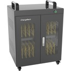 """ChargeTech AC Powered UV Charging Cabinet - 4 Casters - x 26.2"""" Width x 18.5"""" Depth x 29.9"""" Height - Black - For 20 Devices - 1 Each"""