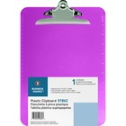 "Business Source Plastic Clipboard - 9"" x 12 1/2"" - Spring Clip - Violet - 1 Each"