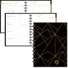 Blueline Gold Collection Diary - Yes - Weekly, Monthly, Daily - January till December - 1 Week Single Page Layout - Twin Wire - Black - Bilingual, Laminated Tab, Hard Cover