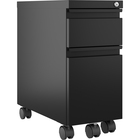 "Lorell 5th Wheel Slim Pedestal - 10"" x 19.9"" x 21.8"" for File, Box - Letter, Legal - Anti-tip, Hanging Rail, Locking Drawer, Compact, Casters - Black - Metal - Recycled - Assembly Required"
