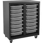 "Lorell Pull-out Bins Mobile Storage Unit - 36"" Height x 30"" Width18"" Length - Floor - Recycled - Black, Clear - Steel - 1Each"