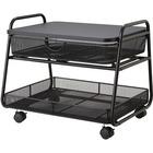 "Safco Onyx Under Desk Machine Stand - 45.36 kg Load Capacity - 17.50"" (444.50 mm) Height x 21"" (533.40 mm) Width x 16"" (406.40 mm) Depth - Wood, Steel - Black"