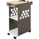 "Safco Mini Rolling Storage Cart - 2 Shelf - 4 Casters - Bamboo - 14"" Width x 24"" Depth x 34"" Height - White"