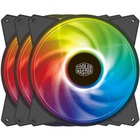 Cooler Master MasterFan Cooling Fan - 3 Pack - 1670.7 L/min - 31 dB(A) Noise - Rifle Bearing - 4-pin - RGB LED - Rubber - 31.9 Year Life