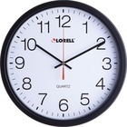"Lorell 12-1/2"" Slimline Wall Clock - Analog - Quartz - Black - Modern Style"