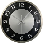 "Timekeeper 11.5"" Round Wall Clock,Brushed Met - Analog - Quartz - Black, Silver Main Dial - Black/Brushed Metal Case"