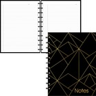 """Blueline MiracleBind Gold Collection Notebook Black - 58 Sheets - 116 Pages - Twin Wirebound - Both Side Ruling Surface - 11"""" x 9 1/16"""" - Gold, Black Paper - Storage Pocket, Index Sheet, Hard Cover, Removable, Refillable, Flexible, Foldable, Micro Perfora"""