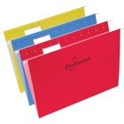 """Continental Letter Size Hanging Folders - Letter - 8 1/2"""" x 11"""" Sheet Size - 11 pt. Folder Thickness - Red, Blue, Yellow - Recycled - 25 / Box"""