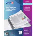 """QuickFit Non-glare Economy Sheet Protectors - 8.5"""" Width x 11"""" Length - For Letter 8 1/2"""" x 11"""" Sheet - 3 x Holes - Rectangular - Polypropylene - 10 / Pack"""