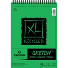 """Canson XL Recycled Sketch - 100 Sheets - Twin Wirebound - 50 lb Basis Weight - 74 g/m² Grammage - 9"""" x 12"""" - Micro Perforated, Removable, Smooth, Erasable, Acid-free - Recycled - 1Each"""