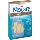 Nexcare Advanced Healing Waterproof Bandage - Assorted Sizes - 10/Box - Clear - Rubber