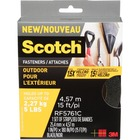 """Scotch Outdoor Fastener Strips - 1"""" (25.4 mm) Width x 15 ft (4.6 m) Length - Reusable, Easy to Use - 1 Roll - Black"""