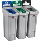 "Rubbermaid Commercial Slim Jim 23-gallon Recycling Station - 87.06 L Capacity - Rectangular - Durable, Vented - 40.3"" Height x 33.3"" Width x 15.3"" Depth - Polyethylene, Polypropylene - Black, Blue, Green"