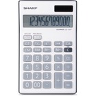 "Sharp 12-Digit Desktop Calculator - Dual Power, Auto Power Off, Built-in Memory, Angled Display - 1 Line(s) - 12 Digits - LCD - Battery/Solar Powered - Battery Included - 1 - LR44 - 1"" x 3.8"" x 6.1"" - Gray - Plastic - Handheld - 1 Each"