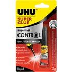 UHU Fast Control Super Glue - 3 g - Plastic, Ceramic, Wood, Porcelain, Rubber, Metal, Home, School, Office - Dishwasher Safe, Water Resistant, Long Lasting