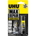 UHU Max Repair Extreme Adhesive - 20 g - Wood, Textile, Leather, Cork, Metal, Glass, Rubber, Ceramic, Stone, Cement - Flexible, UV Resistant, Solvent-free, Durable, Vibration Resistant, Shock Resistant, Water Resistant, Dishwasher Safe - 1 / Each - Transp