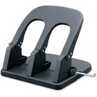 Business Source Adjustable Three-hole Punch - 3 Punch Head(s) - 100 Sheet Capacity - Black
