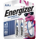 Energizer Ultimate Lithium AA Batteries - For Multipurpose - AA - 1.5 V DC - Lithium (Li) - 2 / Pack