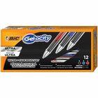 BIC Gel-ocity Gel Pen - Medium Pen Point - 0.7 mm Pen Point Size - Retractable - Black, Blue, Red Gel-based Ink - Black, Blue, Red Barrel - 12 / Dozen