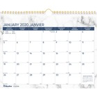 """Blueline Wall Calendar Marble 2020 - Professional - 1 Year - January 2020 till December 2020 - 1 Month Single Page Layout - 11"""" x 8"""" Sheet Size - Twin Wire - Wall Mountable - Gold, Gray - Chipboard - Ruled Daily Block, Reference Calendar, Bilingual, Eyele"""