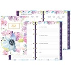 "Blueline MiracleBind Passion Collection Weekly Planner 2020 - Weekly, Monthly - 1 Year - January 2020 till December 2020 - 1 Week Double Page Layout - 5"" x 8"" Sheet Size - Twin Wire - Floral, Gold - Paper - 8"" Height x 5"" Width - Storage Pocket, Hard Cove"