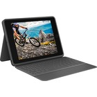 "Logitech Rugged Folio Keyboard/Cover Case (Folio) Apple, Logitech iPad (7th Generation) Tablet - Graphite - Spill Proof, Dirt Resistant, Shock Absorbing, Drop Resistant, Spill Resistant - 7.40"" (187.96 mm) Height x 0.90"" (22.86 mm) Width x 10.20"" (259.08"