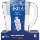 Brita Space Saver Water Filter Pitcher - Pitcher2 Month - 6 Cups Pitcher Capacity - 1 Each - White