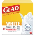 "Glad Easy-Tie White Kitchen Catchers Bags - 25 L - 20"" (508 mm) Width x 20"" (508 mm) Length - White - 100/Box - Kitchen, Office, Bathroom"