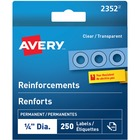 "Avery® Clear Reinforcement Labels - 0.25"" (6.35 mm) Diameter - Round - Clear - Polyvinyl - 250 / Pack"
