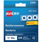 "Avery® White Reinforcement Labels - 0.25"" (6.35 mm) Diameter - Round - Mylar - 225 / Pack"