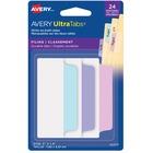"Avery® UltraTabs Filing Tabs - 24 Write-on Tab(s) - 24 Tab(s)/Set - 3"" Tab Height x 1.50"" Tab Width - Pastel Pink Plastic, Pastel Blue, Pastel Purple Tab(s) - 24 / Pack"