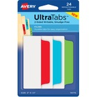 "Avery® Ultra Tabs File Tab - 24 Write-on Tab(s) - 24 Tab(s)/Set - 3"" Tab Height x 1.50"" Tab Width - Green Paper Covered Plastic, Blue, Red Tab(s) - 24 / Pack"