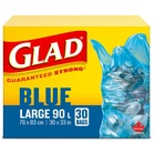 """Glad Blue Recycle Large 90L Bags - Large Size - 90 L - 30"""" (762 mm) Width x 33"""" (838.20 mm) Length - Blue - 30/Box - Garbage"""