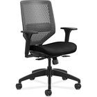 "HON Solve SVR1ACLC10 Task Chair - Charcoal Mesh Back - Black Frame - 5-star Base - Fabric - 29.8"" Width x 29"" Depth x 41.8"" Height - 1 Each"