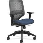 "HON Solve SVR1ACLC90 Task Chair - Charcoal Back - Black Frame - 5-star Base - Navy - Fabric - 29.8"" Width x 29"" Depth x 41.8"" Height - 1 Each"