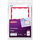 "Avery® Name Badge Labels - Removable Adhesive - 2 11/32"" Height x 3 3/8"" Width - Rectangle - Laser, Inkjet - 2 / Sheet - 15 Total Sheets - 30 / Pack"