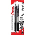 Pentel RSVP Super RT Ballpoint Pen - Fine Pen Point - 0.7 mm Pen Point Size - Refillable - Yes - Black - Black Barrel - Metal Tip - 2 / Pack