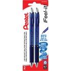 Pentel RSVP Super RT Ballpoint Pen - Fine Pen Point - 0.7 mm Pen Point Size - Refillable - Retractable - Blue - Blue Barrel - Metal Tip - 2 / Pack