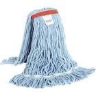 """Globe Synthetic Looped End Wet Mop Narrow Band Blue 20oz - 7"""" Width x 17"""" Length - Synthetic Yarn"""