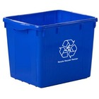 "Globe 16 Gallon Curbside Recycling Bin - 60.57 L Capacity - Long Lasting, Handle, Wear Resistant, Tear Resistant - 15.5"" Height x 15.5"" Width - High-density Polyethylene (HDPE) - Blue"