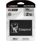 """Kingston KC600 2 TB Solid State Drive - 2.5"""" Internal - SATA (SATA/600) - 3.5"""" Carrier - Notebook, Desktop PC Device Supported - 1200 TB TBW - 550 MB/s Maximum Read Transfer Rate - 256-bit Encryption Standard - 5 Year Warranty"""