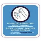 Optimum Graphiques Information Sign - 10 / Pack - PLEASE USE HAND SANITIZER BEFORE ENTERING Print/Message - Round Shape - Removable, Rounded Corner