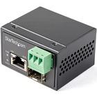 StarTech.com PoE+ Industrial Fiber to Ethernet Media Converter 30W - SFP to RJ45 - SM/MM Fiber to Gigabit Copper Mini Size IP-30 - Fiber to Ethernet media converter extends networks & converts fiber to copper - PSE source for 30W power to IEEE 802.3af (Po