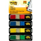 """Post-it® 1/2""""W Flags in Primary Colors - 4 Dispensers - 35 x Blue, 35 x Green, 35 x Red, 35 x Yellow - 0.50"""" x 1.75"""" - Rectangle - Unruled - Blue, Green, Red, Yellow, Assorted - Removable, Self-adhesive - 140 / Pack"""