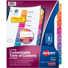 "Avery® Ready Index Binder Dividers - Customizable Table of Contents - 8 x Divider(s) - Printed Tab(s) - Digit - 1-8 - 8 Tab(s)/Set - 8.50"" Divider Width x 11"" Divider Length - Letter - 3 Hole Punched - White Paper Divider - Assorted Paper Tab(s) - 8 /"