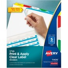 """Avery® Print & Apply Clear Label Dividers - Index Maker Easy Apply Label Strip - 5 x Divider(s) - 4 Tab(s) - 5 Tab(s)/Set8.50"""" Divider Length - Letter - 8 1/2"""" Width x 11"""" Length - 3 Hole Punched - White Paper Divider - Multicolor Tab(s) - 5 / Set"""