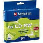 Verbatim 95157 CD Rewritable Media - CD-RW - 12x - 700 MB - 5 Pack Slim Case