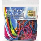 "Brites File Bands - Size: #117B - 7"" (177.80 mm) Length x 0.13"" (3.30 mm) Width - Reusable, Elastic, Stretchable, Latex-free, Freezer Safe, Microwave Safe, Durable - 50 / Pack - Pink, Blue, Orange"